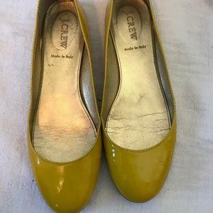 J Crew Yellow Patent Leather Ballet Flats